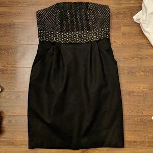 Ann Taylor LOFT Black Lace Eyelet Strapless Dress